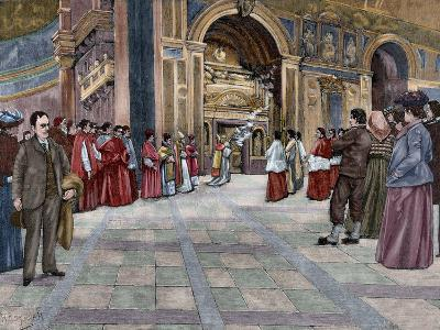 Opening of Sepulchral Monument of Pope Innocent III in the Basilica of St. John Lateran. Italy--Giclee Print