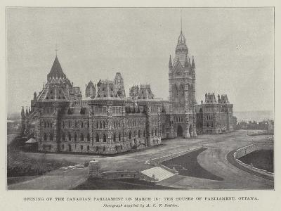 Opening of the Canadian Parliament on 16 March, the Houses of Parliament, Ottawa--Giclee Print