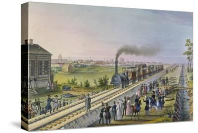 Opening of the First Railway Line from St. Petersburg to Pavlovsk in 1837--Stretched Canvas Print