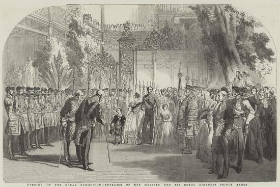 Opening of the Great Exhibition, Entrance of Her Majesty and His Royal Highness Prince Albert--Giclee Print
