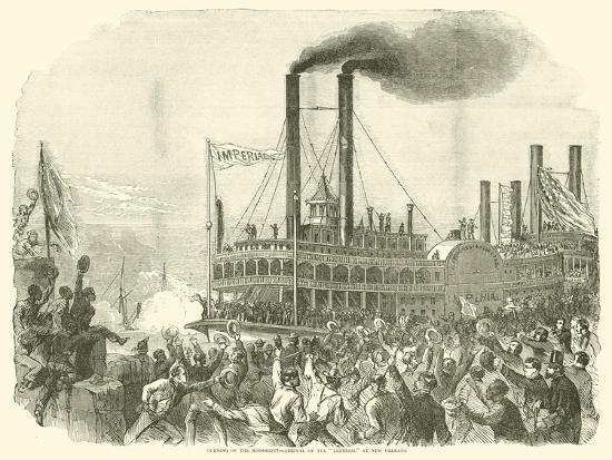 """Opening of the Mississippi, Arrival of the """"Imperial"""" at New Orleans, July 1863--Giclee Print"""