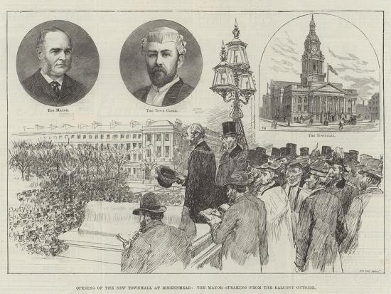 Opening of the New Townhall at Birkenhead, the Mayor Speaking from the Balcony Outside-Frank Watkins-Giclee Print