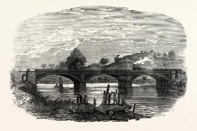 Opening of the North Devon Railway: the Iron Railway Bridge over the River Taw Near Barnstaple 1854--Giclee Print