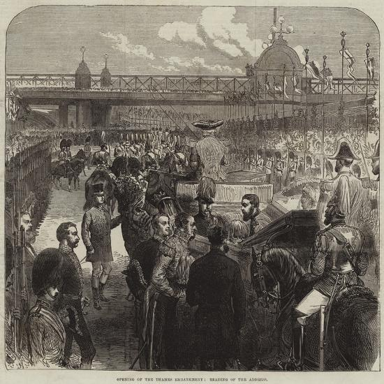 Opening of the Thames Embankment, Reading of the Address--Giclee Print