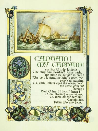 Opening Page of Walt Whitman's Poem 'O Captain! My Captain!' with a Vignette of a Harbour Scene-Alberto Sangorski-Giclee Print