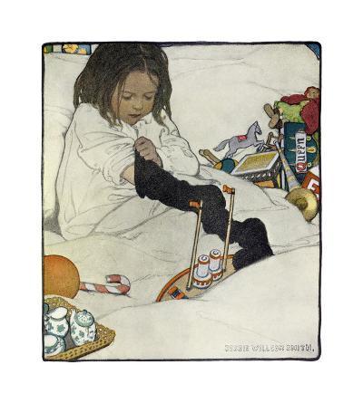 Opening the Christmas Stocking-Jessie Willcox-Smith-Premium Giclee Print