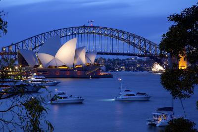 Opera House and Harbour Bridge from Mrs Macquarie's Chair at Dusk, Oceania-Frank Fell-Photographic Print
