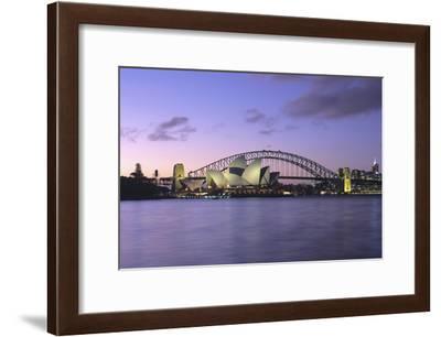 Opera House and Harbour Bridge, Sydney, at dusk.-Marcel Malherbe-Framed Photo