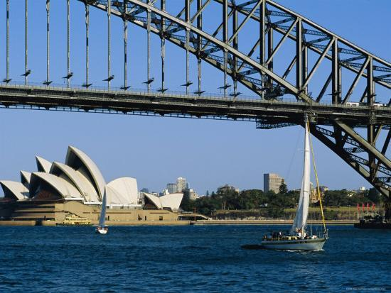 Opera House and Harbour Bridge, Sydney, Australia-Fraser Hall-Photographic Print