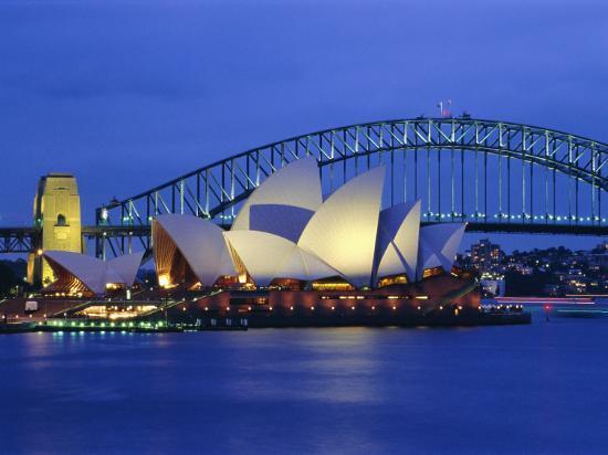 Opera House and Sydney Harbour Bridge, Sydney, New South Wales, Australia-Gavin Hellier-Photographic Print