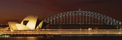 Opera House Lit Up at Night with Light Streaks, Sydney Harbor Bridge, Sydney Opera House