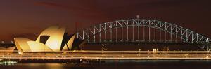 Opera House Lit Up at Night with Light Streaks, Sydney Harbor Bridge, Sydney Opera House