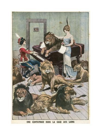 Opera Singer in a Lion Cage-French School-Giclee Print