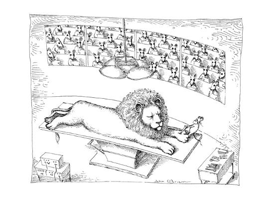 Operating theater where mouse is removing thorn from Lion's foot. - New Yorker Cartoon-John O'brien-Premium Giclee Print