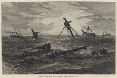Operations at the Wreck of HMS Vanguard, Towing the Foreyard Adrift--Giclee Print