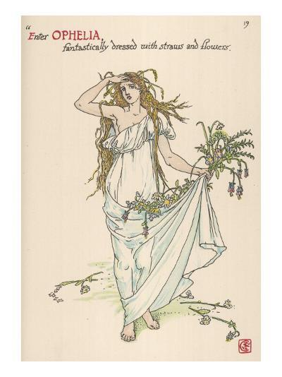 Ophelia Goes Mad, Hands Out Wild Flowers--Giclee Print