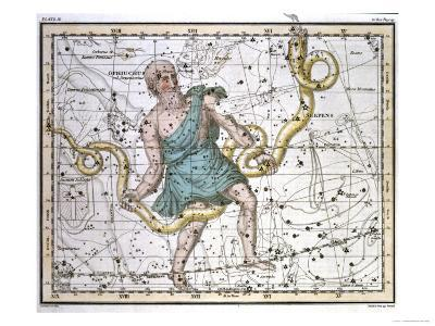 """Ophiuchus or Serpentarius, from """"A Celestial Atlas,"""" Published in 1822-A^ Jamieson-Giclee Print"""