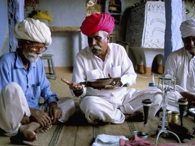Opium Ceremony, Village Near Jodhpur, Rajasthan State, India-Bruno Morandi-Photographic Print