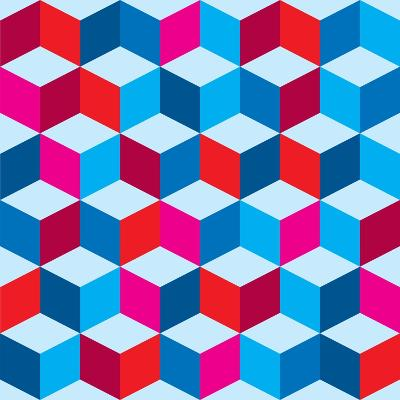 Optical Illusion Background In Red White And Blue With Seamless Pattern-nicemonkey-Art Print