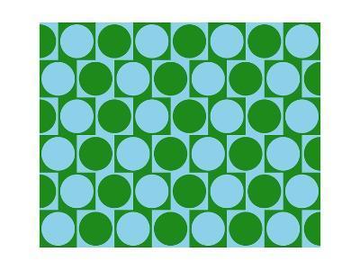 Optical Illusion Cafe Wall Effect Circles Light Blue Green-Luis Stortini Sabor aka CVADRAT-Art Print