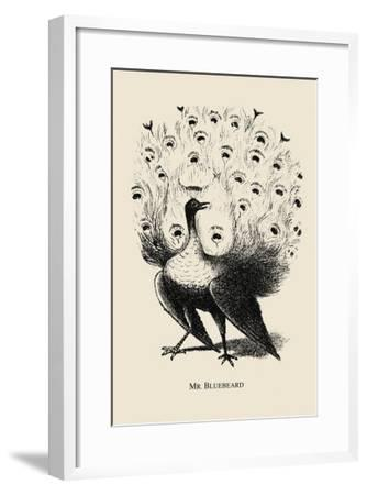 Optical Illusion Puzzle: Peacock and Mr. Bluebeard--Framed Art Print