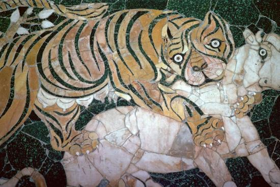 Opus sectile mosaic of a tiger seizing a calf, 4th century. Artist: Unknown-Unknown-Giclee Print