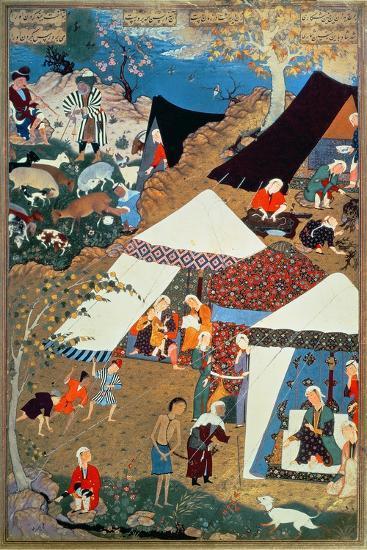 Or 2265 Folio 1576 Camp Scene by Mir Sayyid'Ali, from the 'Khamsa' of Nizami, Tabriz, 1539-43--Giclee Print