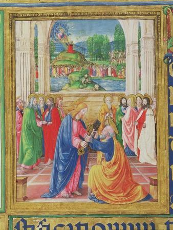 Christ Giving the Keys to St. Peter, from a Psalter Written by Don Appiano, Florence, 1514-15