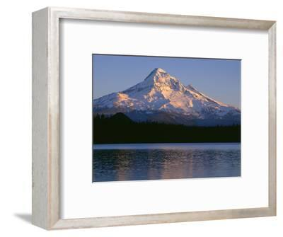 OR, Mount Hood NF. Sunset light on north side of Mount Hood with first snow of autumn-John Barger-Framed Photographic Print
