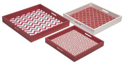 Ora Modern Graphic Tray Set - Coral--Home Accessories