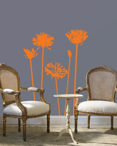 Orange Agapanthus--Wall Decal