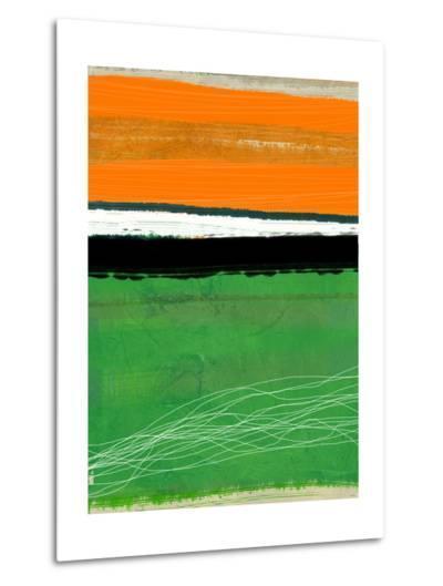 Orange and Green Abstract 1-NaxArt-Metal Print
