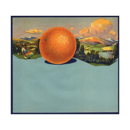 Orange and Orchards - Citrus Crate Label-Lantern Press-Art Print