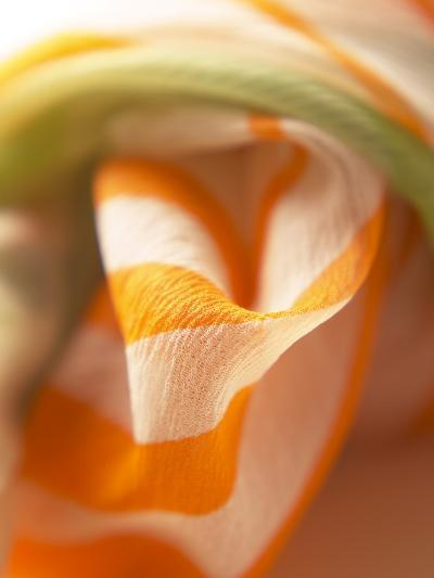 Orange and White Striped Material--Photographic Print