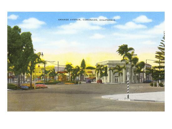 Orange Avenue, Coronado, California--Art Print