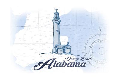 Orange Beach, Alabama - Lighthouse - Blue - Coastal Icon-Lantern Press-Art Print