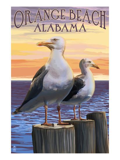 Orange Beach, Alabama - Seagulls-Lantern Press-Art Print