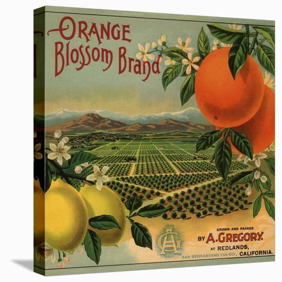 Orange Blossom Brand - Redlands, California - Citrus Crate Label-Lantern Press-Stretched Canvas Print