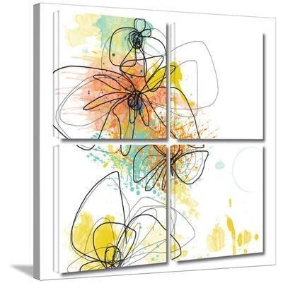 Orange Botanica 4 piece gallery-wrapped canvas-Jan Weiss-Gallery Wrapped Canvas Set