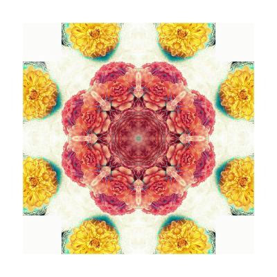 Orange Brown Blossom Mandala-Alaya Gadeh-Art Print