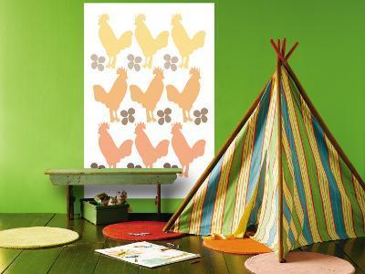 Orange Chicken Family-Avalisa-Wall Mural