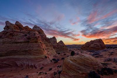Orange Clouds over Sandstone Cones-James Hager-Photographic Print