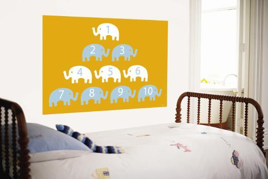 Orange Counting Elephants-Avalisa-Wall Mural
