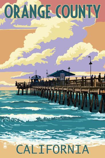 Orange County, California - Pier and Sunset-Lantern Press-Art Print