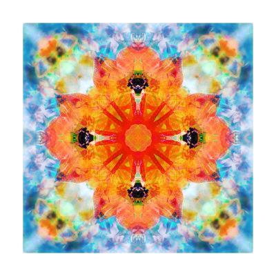 Orange Cross Mandala-Alaya Gadeh-Art Print
