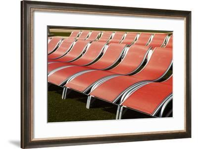 Orange Deck Chairs Neatly Arranged in a Row at Atlantic City-Richard Nowitz-Framed Photographic Print