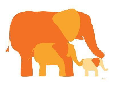 Orange Elephants-Avalisa-Art Print