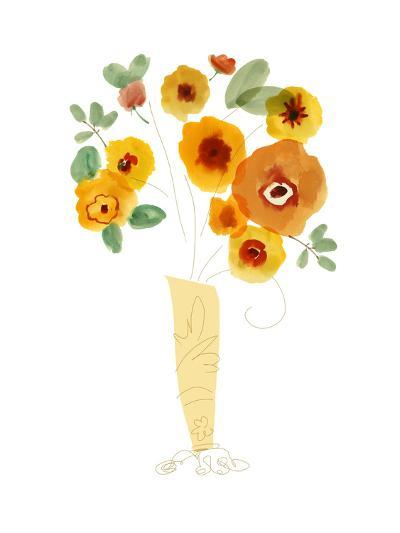 Orange Flowers in a Vase--Art Print