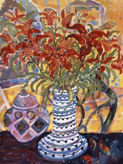 Orange Flowers in Blue and White Vase on a Table Next to a Jug-Lorraine Platt-Giclee Print