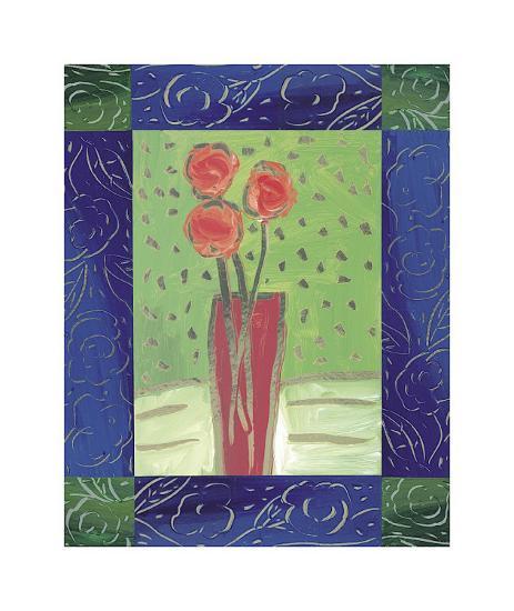 Orange Flowers on Green-Hussey-Giclee Print